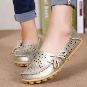 Mocasines Para Dama, Zapatos En Cuero Para Dama, Baletas