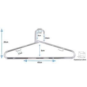 Cabide Médio Acrílico 10mm Transparente Kit C/ 100 Peças