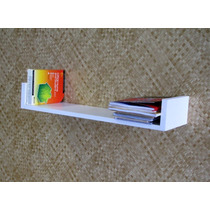 Prateleira U Decorativa Mdf Branco 60x10x20 Cm Livros