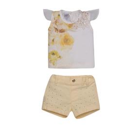 Conjunto Bebe Menina Blusa Flowe Shorts Detalhe Sonho Magico