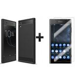 Forro Fiber Carbono + Vidrio 2d Sony Xperia Xa1 Plus G3426