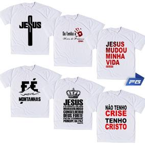 Kit 6 Camisetas Brancas Tema Gospel Evangélicos Cristão