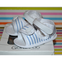 Sandalias A Rayas Gorditoo Celeste Ta 15-17 Little Treasure