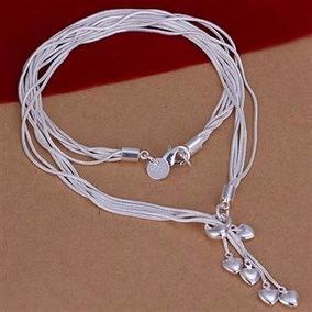 Lindo Colar Em Prata 925 Pingentes Coração Várias Correntes