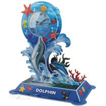 Rompecabezas 3d Delfines C/ Reloj Alarma Decorativo Bonito !