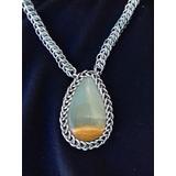 Collar Artesanal Tejido Medieval Con Piedra Natural Onix