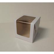 Caja 1 Pieza Con Visor 10x10x10 Cm (x50 U.) Tortas Mini Porciones Tazas Pvc Acetato - 050 Bauletto