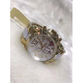 Relógio Michael Kors Mk5743 Gold Branco 44mm Promocional 10