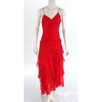Vestido De Seda Rojo, Falda Capas Nina Austin