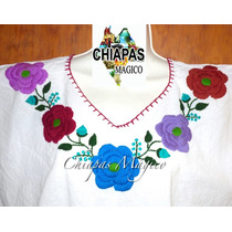 Hermosa Blusa De Chiapas Bordada A Mano / Manta Blanca (gde)
