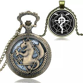 Relógio De Bolso Full Metal Alchemist Com Colar E Caixa Luxo