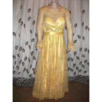 Vestido De Noiva Amarelo Com Tule Dourado Bordado Com Perol