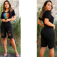 Bermuda Sol Jeans Original Destroyed Comprida Com Lycra Pret