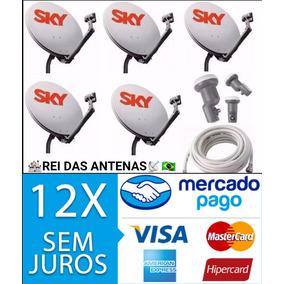 05 Antena Ku 60cm Para Sky Gato + Lnb Duplo Univ + Cabo