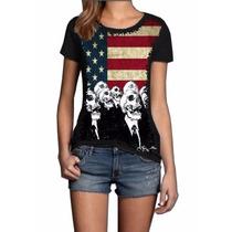 Camisa Blusa Feminina Caveira Bandeira Eua Americana Swag