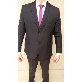 Terno Preto Slim Masculino Oxford Modelo Italiano 2 Botões