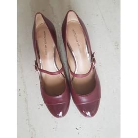 Sapato Boneca Importado Dillards Verniz E Couro Cor Vinho
