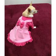 Vestido Jardineira Rosa  Para Pet - Roupas Para Cães