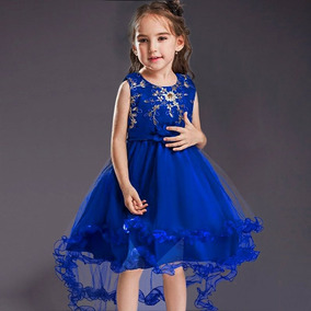 Vestido Importado Dama De Honra Renda Azul Casamento Infanti