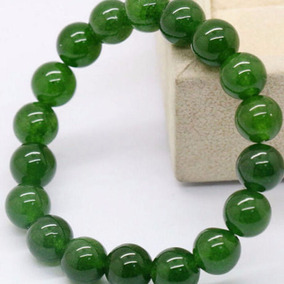 Brazalete De Jade Hetian Natural Bolitas De 18 Mm