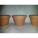 Trio De Vasos De Cerâmica Cru-tamanho Violeta-cachepot
