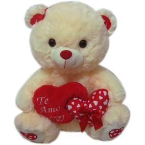 Urso Ursinho De Pelúcia Grande Com Coração Te Amo - 39cm
