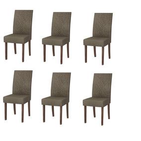Jogo Com 6 Cadeiras Madero Tx Suede Pena Marron