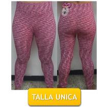 Pantalon Leggins Licras Estampado Rosa Cn Blanco Talla Unica