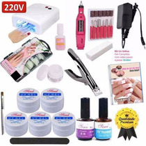 Kit Unhas Gel Uv Acrigel + Mini Lixa Eletrica + Cabine 220v