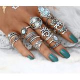 Set 16 Anillos Hippies Boho Middle Ring Moonstone Corona