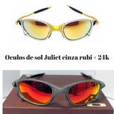 Oculos De Sol Juliet Cinza Rubi E Doble X 24k Armacao Metal