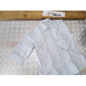 Camisa De Dama M/3/4 En Algodon Egipcio Azul Cielo T-l Mela