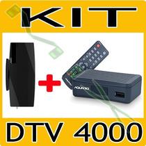 Kit Conversor Tv Digital Dtv 4000 Aquario + Antena Interna