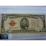 Billetes Antiguo De 5$ De 1928 Con Sello Rojo Autentico