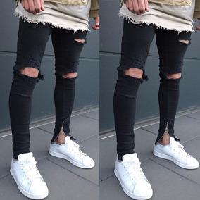 Jeans Negro Roto Para Hombre