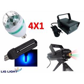 Kit Festa Iluminação Balada Luz Negra Bola Strobo Laser 4x1