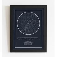 Quadro Mapa Das Estrelas A3 Com Moldura E Vidro