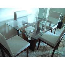 Mesa De Jantar Com 4 Cadeiras Tampo Vidro Suporte Madeira