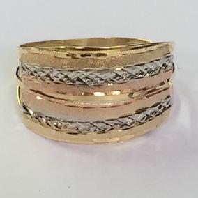 Ngold Anel 3 Cores Tricolor Fosco E Diamantado Ouro 18k .