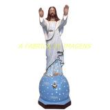 Estatua Jesus Cristo Iluminada Imagem Roupa Branca 60c Gesso