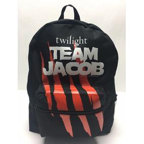 Mochila Back Pack Negra Twilight Team Jacob Garras Lobo 3b8bfafffe816