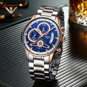 Relógio Masculino Nibosi Gold Luxo Funcional Aço Inoxidável