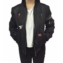 Campera Mujer Bomber Jacket Universitaria Parches Abrigada
