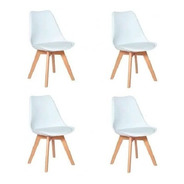 Conjunto 04 Cadeiras Saarinen Leda Sked Lena Base Wood