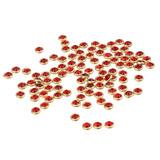 Decoraciones D/uña Con Borde Metal Brillante Roja 100 Piezas