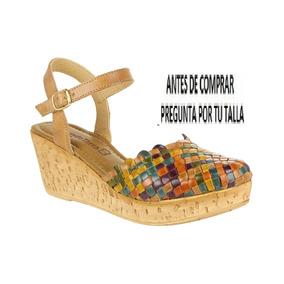 Sandalias Huaraches Piel Cangrejerass Plataforma 7cm 23-27