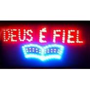 Placa Luminoso Quadro Led Letreiro Luminária Deus_é_fiel