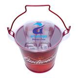 Combo Balde De Gelo Cerveja Budweiser Com 2 Copos De Vidro