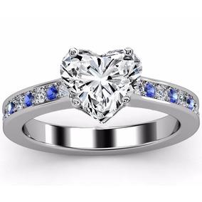 Anillo De Compromiso Oro Blanco 14k Diamante Corazón,zafiros