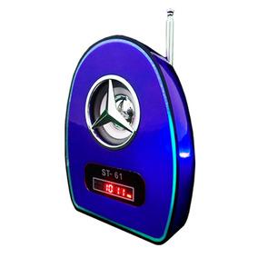 Velikka Bocina Bateria Recargable Usb Fm Led Neon St-61 Azul